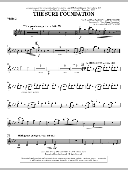 The Sure Foundation - Violin 2 Sheet Music
