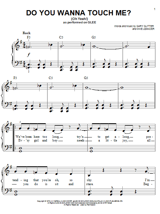 Do You Wanna Touch Me?  (Oh Yeah!) Sheet Music
