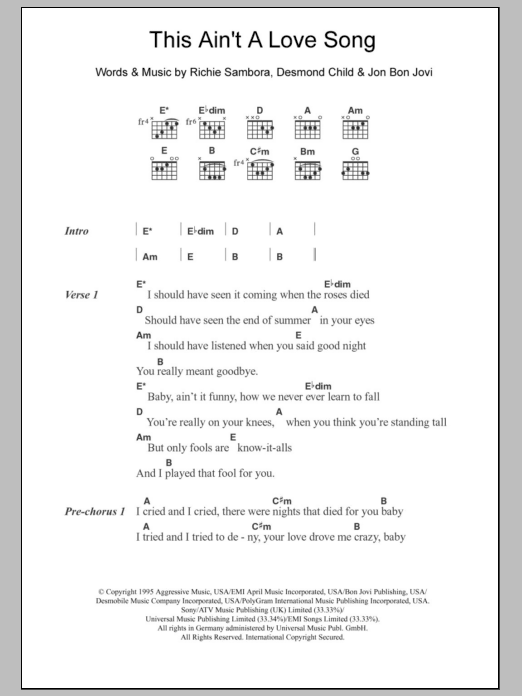 This Aint A Love Song By Bon Jovi Guitar Chordslyrics Guitar