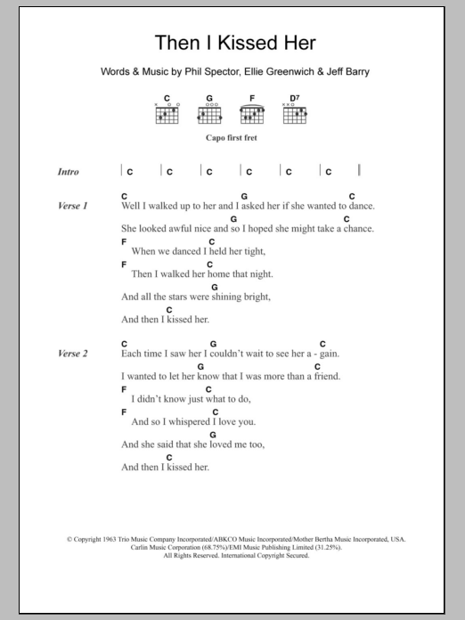Then I Kissed Her by The Beach Boys - Guitar Chords/Lyrics - Guitar ...