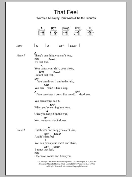 That Feel By Tom Waits Guitar Chordslyrics Guitar Instructor
