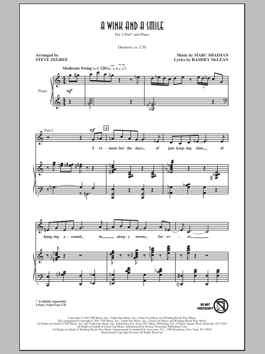 A Wink And A Smile Sheet Music