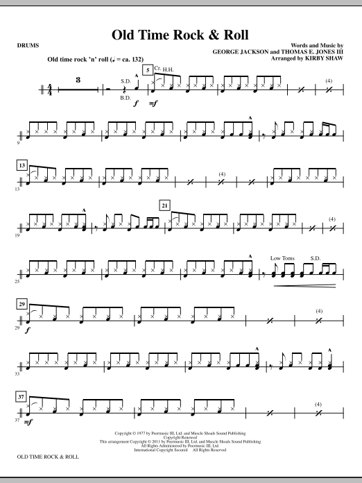 Old Time Rock Roll Drums Sheet Music To Download