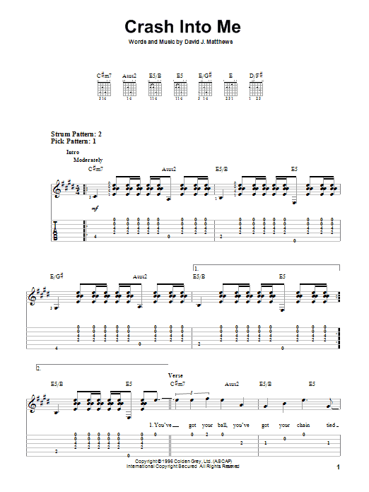 Tablature guitare Crash Into Me de Dave Matthews Band - Tablature guitare facile