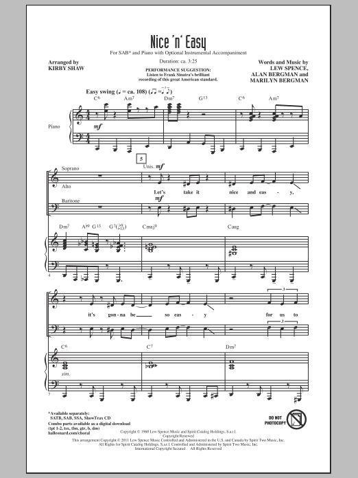 Nice 'n' Easy (arr. Kirby Shaw) Sheet Music