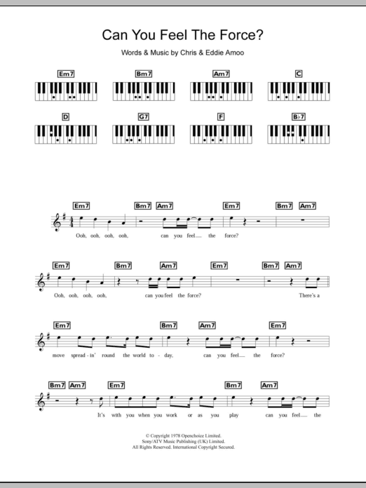 Can You Feel The Force? Sheet Music