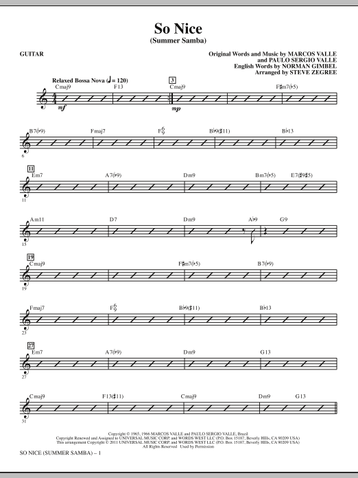 So Nice (Summer Samba) (complete set of parts) sheet music for orchestra/band (Rhythm) by Steve Zegree, Marcos Valle, Norman Gimbel and Paulo Sergio Valle. Score Image Preview.