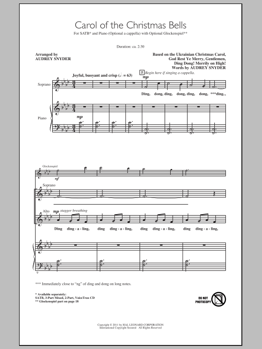 Carol Of The Christmas Bells Sheet Music