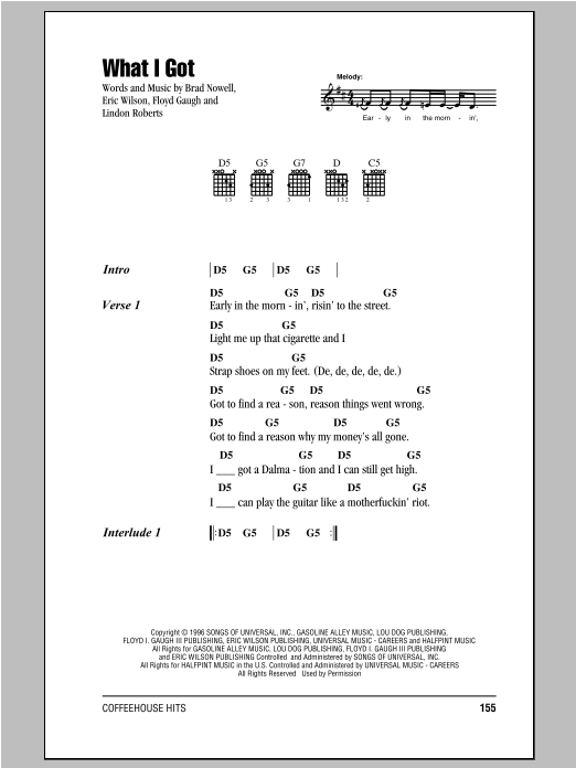 What I Got (Guitar Chords/Lyrics)