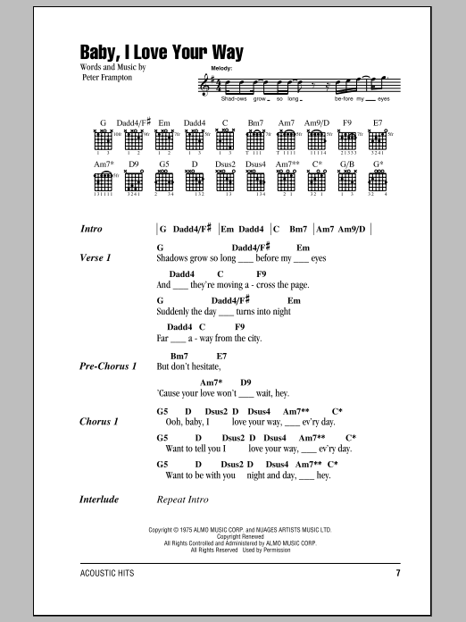 baby  i love your way sheet music