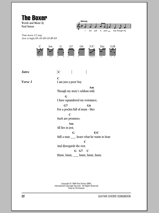 The Boxer Sheet Music