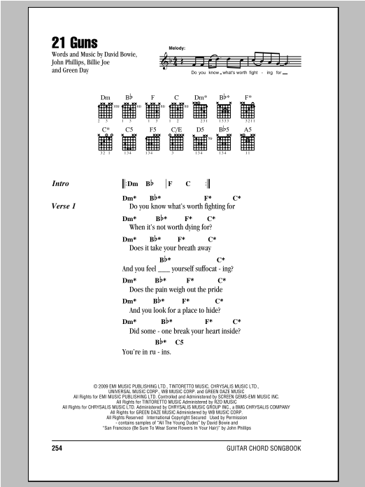 21 Guns sheet music by Green Day (Lyrics u0026 Chords u2013 85310)