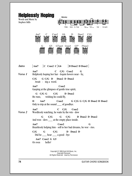 Helplessly Hoping Sheet Music