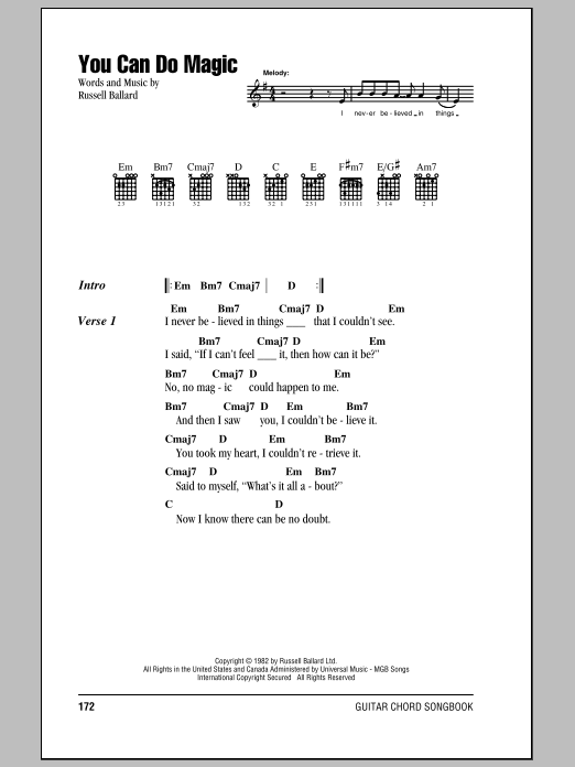 You Can Do Magic sheet music by America (Lyrics & Chords – 85295)