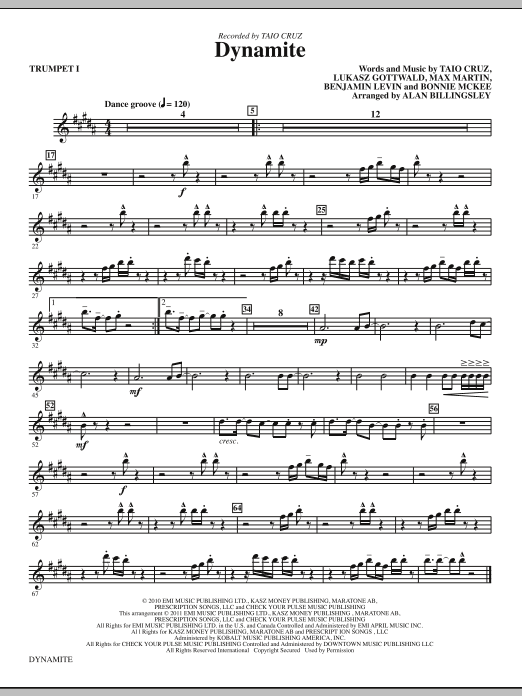 Dynamite (complete set of parts) sheet music for orchestra/band (chamber ensemble) by Alan Billingsley, Benjamin Levin, Bonnie McKee, Lukasz Gottwald, Max Martin and Taio Cruz. Score Image Preview.