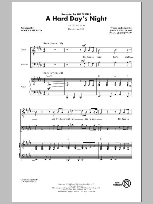 A Hard Day's Night (arr. Roger Emerson) (TB Choir)