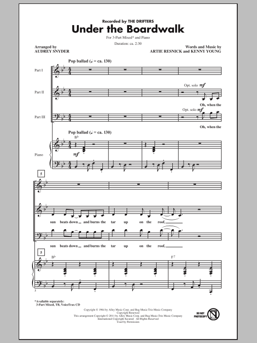 Under The Boardwalk (arr. Audrey Snyder) Sheet Music