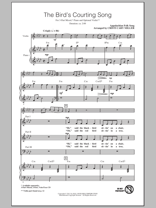 The Bird's Courting Song (arr. Cristi Cary Miller) Sheet Music