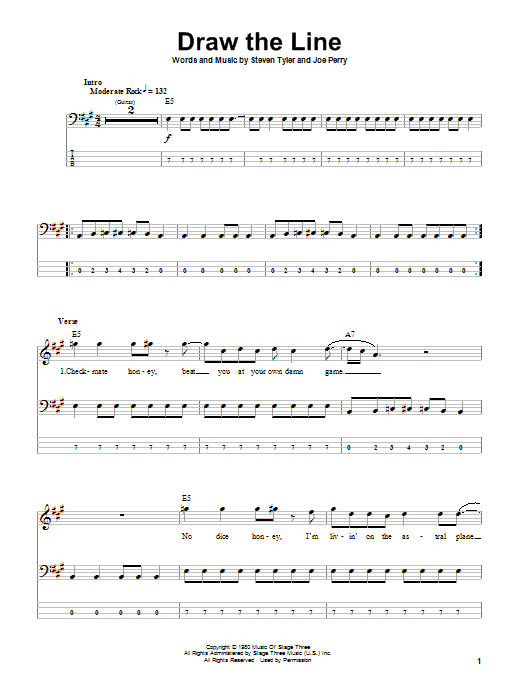 Tablature guitare Draw The Line de Aerosmith - Tablature Basse