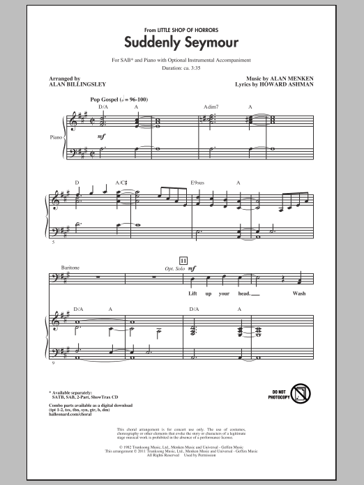 Suddenly Seymour (arr. Alan Billingsley) Sheet Music