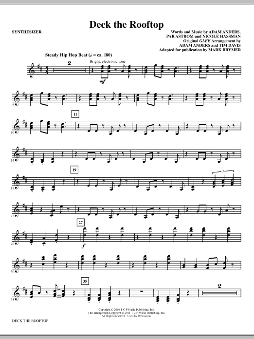 Deck The Rooftop (complete set of parts) sheet music for orchestra/band (Rhythm) by Mark Brymer, Adam Anders, Glee Cast, Nicole Hassman, Nikki Hassman, Par Astrom and Peer Astrom. Score Image Preview.