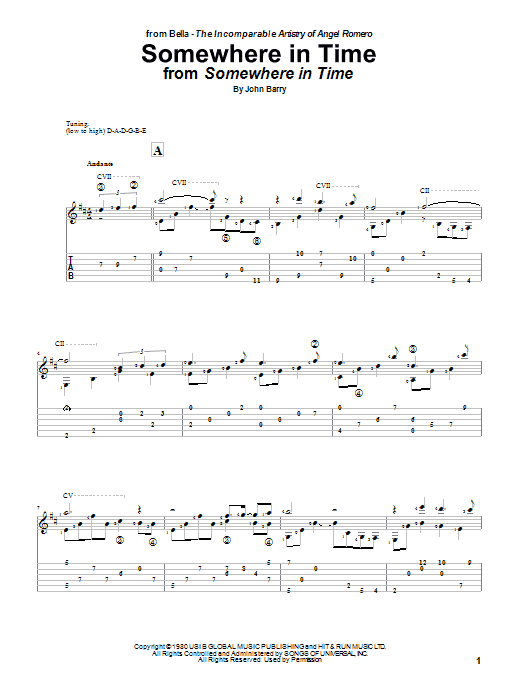 Somewhere In Time (Guitar Tab)