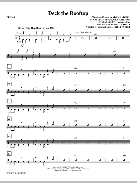 Deck The Rooftop Drums Sheet Music Direct
