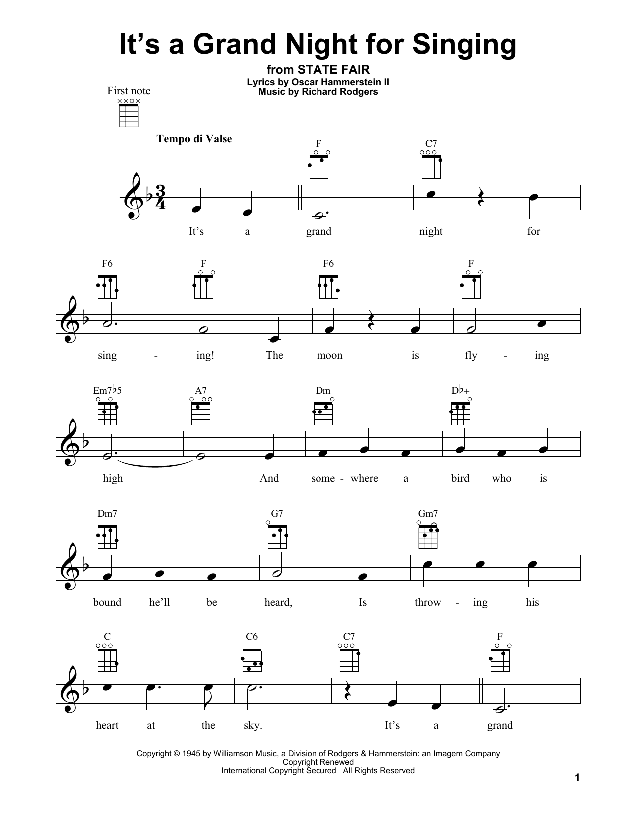 Tablature guitare It's A Grand Night For Singing de Rodgers & Hammerstein - Ukulele