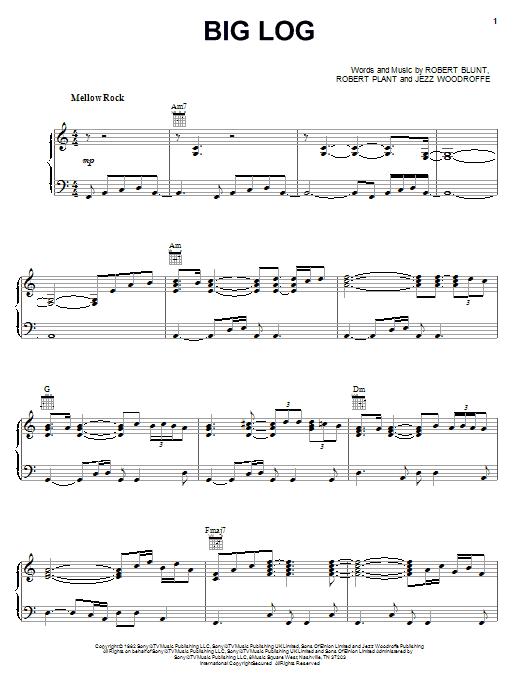 Partition piano Big Log de Robert Plant - Piano Voix Guitare (Mélodie Main Droite)