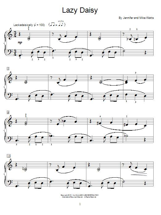 Partition piano Lazy Daisy de Jennifer Watts - Autre