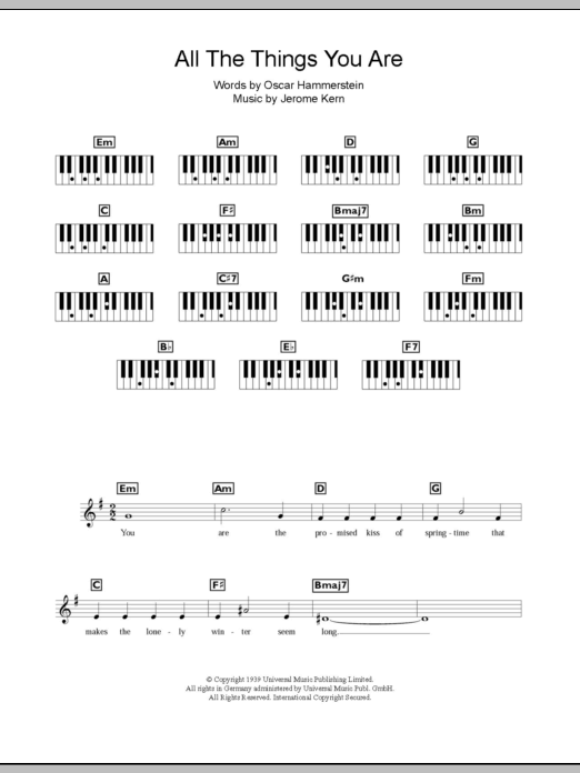 All The Things You Are Sheet Music Jerome Kern Keyboard