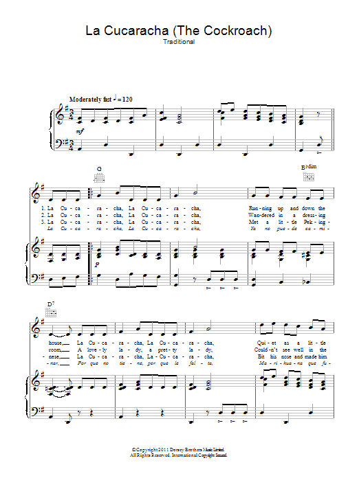 La Cucaracha (The Cockroach) Sheet Music