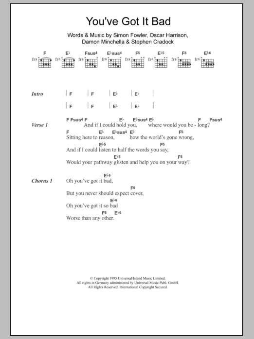 You\'ve Got It Bad by Ocean Colour Scene - Guitar Chords/Lyrics ...