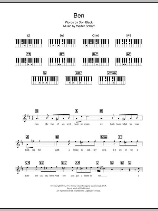 Ben | Sheet Music Direct