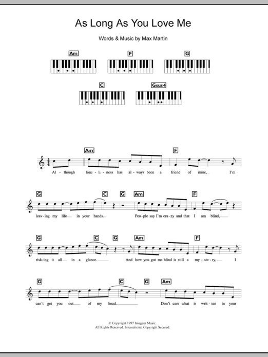 As Long As You Love Me Sheet Music Direct