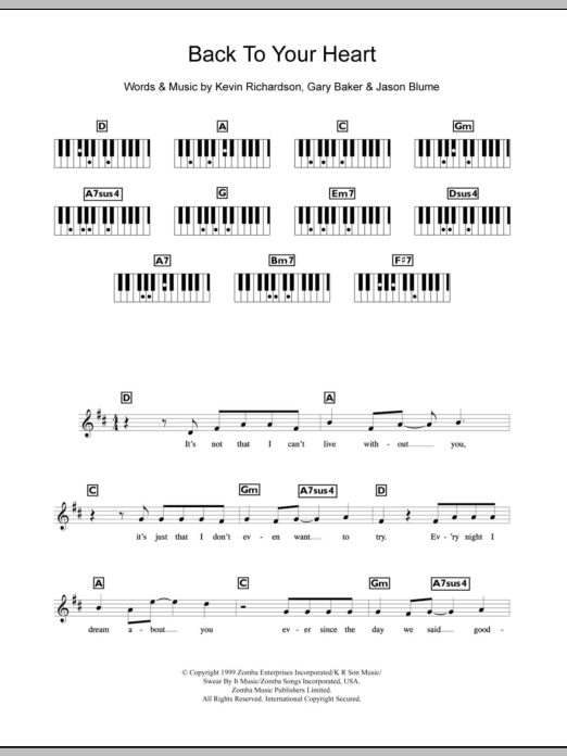 Back To Your Heart Sheet Music