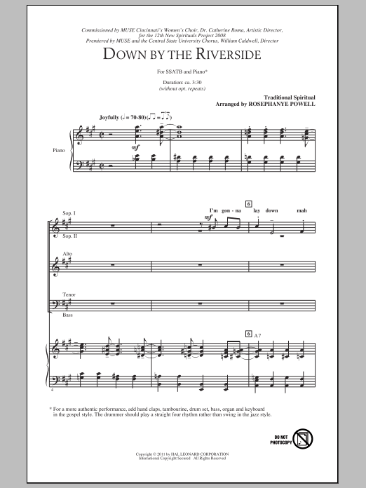Down By The Riverside (arr. Rosephanye Powell) Sheet Music