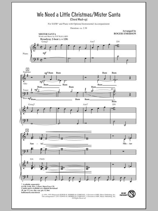We Need A Little Christmas / Mister Santa (SATB Choir)