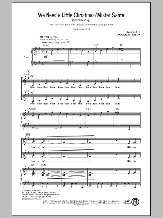 We Need A Little Christmas / Mister Santa (2-Part Choir)