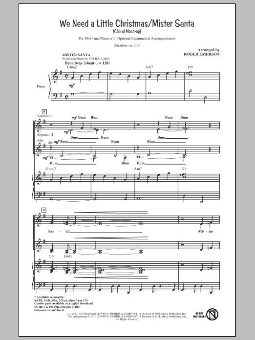 We Need A Little Christmas / Mister Santa (SSA Choir)