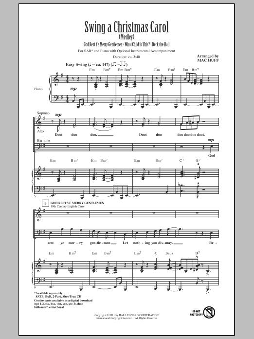 Partition chorale Swing A Christmas Carol (Medley) de Mac Huff - SAB