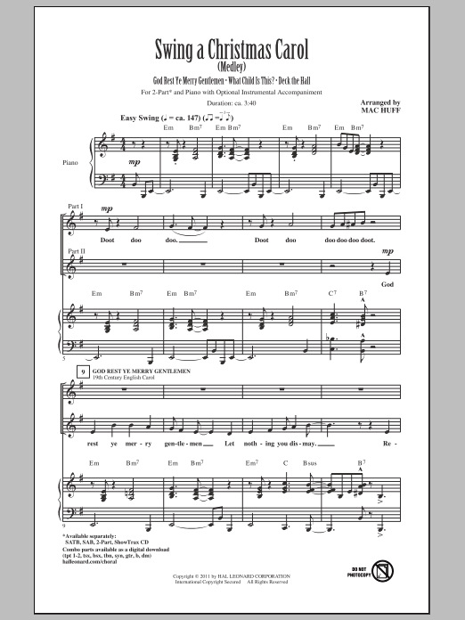 Swing A Christmas Carol (Medley) Sheet Music