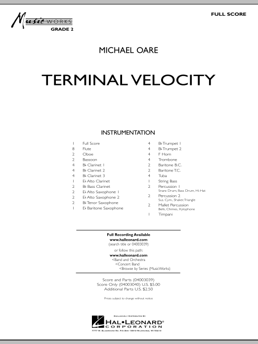 Terminal Velocity (COMPLETE) sheet music for concert band by Michael Oare. Score Image Preview.