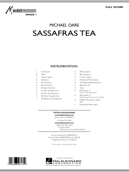 Sassafras Tea (Cajun Two-Step) (COMPLETE) sheet music for concert band by Michael Oare. Score Image Preview.