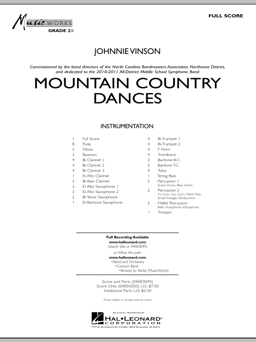 Mountain Country Dances (COMPLETE) sheet music for concert band by Johnnie Vinson. Score Image Preview.