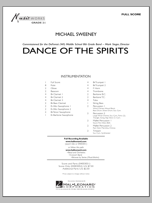 Dance Of The Spirits (COMPLETE) sheet music for concert band by Michael Sweeney. Score Image Preview.