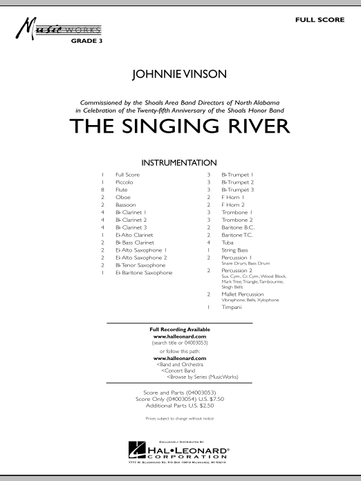 The Singing River (COMPLETE) sheet music for concert band by Johnnie Vinson. Score Image Preview.