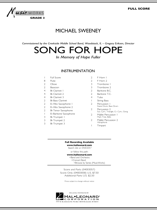 Song For Hope (COMPLETE) sheet music for concert band by Michael Sweeney. Score Image Preview.
