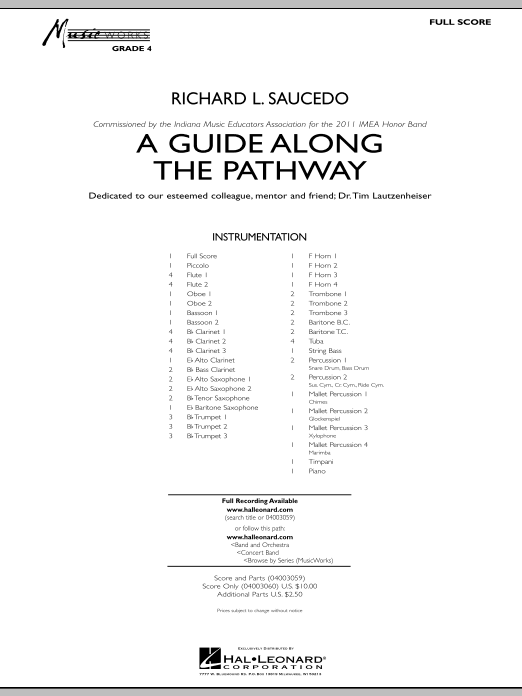 A Guide Along The Pathway (COMPLETE) sheet music for concert band by Richard L. Saucedo. Score Image Preview.