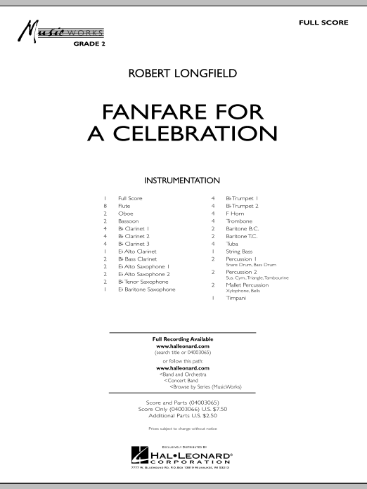 Fanfare For A Celebration (COMPLETE) sheet music for concert band by Robert Longfield. Score Image Preview.